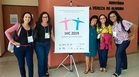 Representantes do NAU no IHC 2019. Patrícia Tavares, Patrícia Amorim, Simone, Priscyla e Carolina