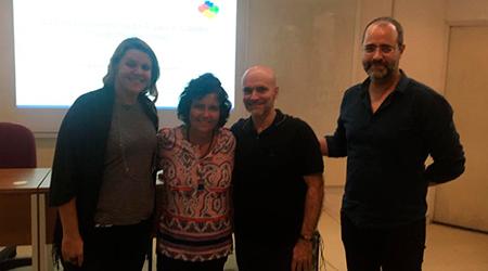Qualificação de Luís Diogo Reis. Na foto, Diogo posa com Simone e os membros da banca: Profa Flávia Bernandini (UFF) e Prof. Pimentel (UNIRIO)